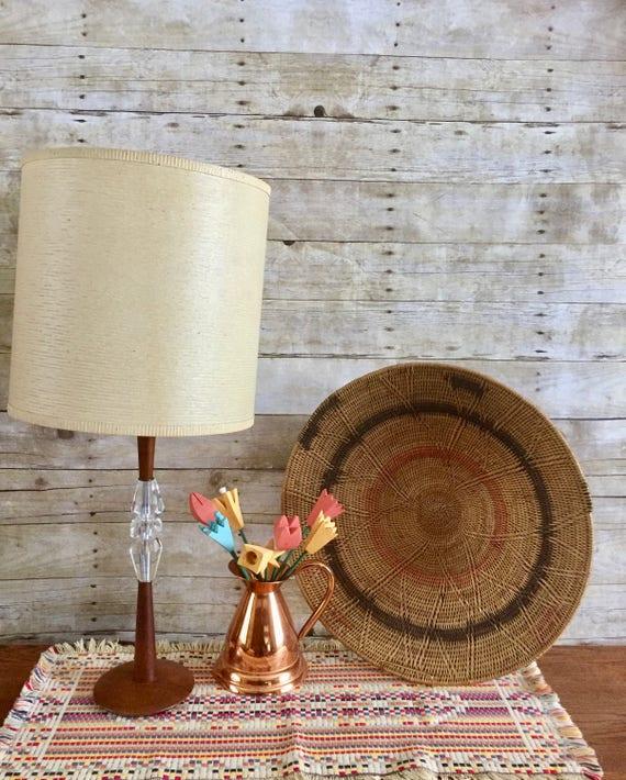 Vintage Teak Lucite Lamp Danish Teak Table Lamp Mid Century Modern Lighting Bohemian Living Room Boho Chic Decor Scandinavian Teak Lamp Mod