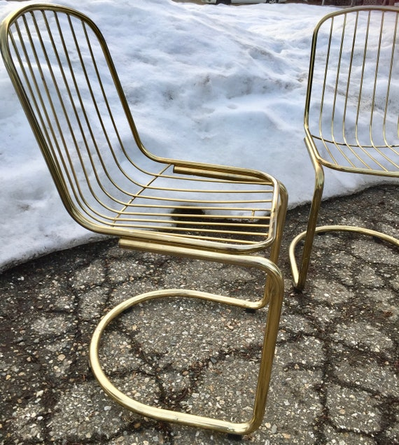 Remarkable Vintage Cantilever Chairs Mod Gold Brass Dining Chairs Mid Century Modern Furniture Mad Men Gold Wire Chairs Dining Room Boho Accent Chairs Creativecarmelina Interior Chair Design Creativecarmelinacom