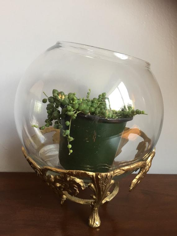 Glass Brass Terrarium Vintage Plant Stand Bohemian Living Room Etsy
