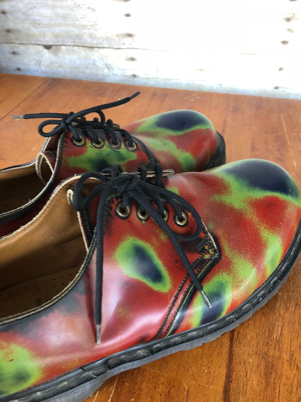 Vintage doc martens england  hombres  Zapatos rojo rojo rojo verde azul  botas  acid trip eye punk rock Zapatos doc martens menswear vintage cuero rubber Zapatos 91a791