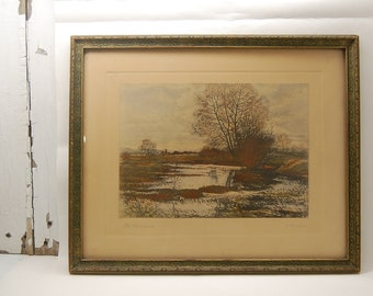 vintage THE MEADOWS Art Work by Nicholas Brewer print charcoal watercolor landscape scene trees and water N. Brewer Arkansas browns blues