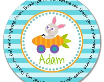 Godchild easter gift etsy personalized kids plate godchild easter gift melamine name plate easter bunny plate easter gift boy bunny car or chick magnet negle Gallery