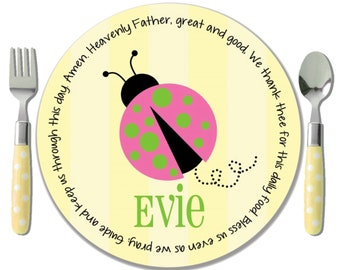 Pink Ladybug Melamine Plate - Baby Dedication Gift - Personalized Baptism Plate - Godchild Gift Girl - Flower Girl Gift - Ladybug Birthday