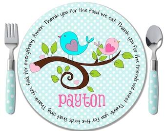 Sweet Birdies Prayer Plate - Baptism Gift Girl - Personalized Kids Plates - Godchild Gifts - Christening Gifts - Baptism Goddaughter Gift