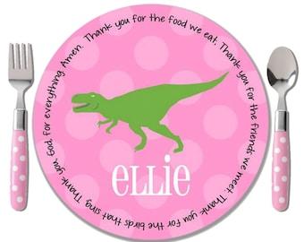 Dinosaur Girl Personalized Dinner Plate - Pink T-Rex Melamine Kids Plate - Baptism Gift Girl - Unique Godchild Gift - Dinosaur 1st Birthday