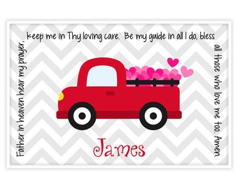 Valentine's Day Personalized Placemat - Kids Truck Placemat - Childrens Truck Placemat - Childs Red Truck Placemat - Valentine Gift Boy