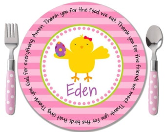 Personalized Polymer Plate - Personalized Kids Plate - Easter Gift Girl - Easter Plate - Chick Magnet - Godchild Easter Gift - Sweet Chick