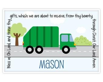 Garbage Truck Placemat - Trash Truck Placemat - Baptism Gift Godson - Garbage Man Placemat - Personalized Kids Placemat - Boy Birthday Gift