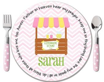 Lemonade Stand Melamine Plate - Lemonade Personalized Plate - Baby Girl Christening Gift - Personalized Dedication Gift - Godchild Gift Girl
