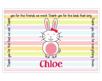 Personalized Placemat - Kids Placemat - Childrens Placemat - Prayer Placemat - Easter Placemat - Bunny Placemat - Easter Gift - Bunny Girl