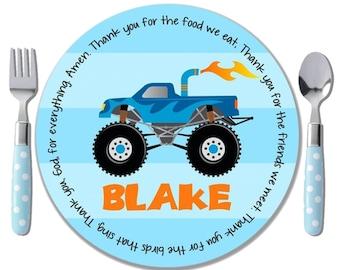 Baptism Gift from Godparent - Godchild Gift - Personalized Christening Plate - Monster Truck Theme - Boy Birthday Gift - Monster Truck Plate