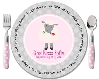 Pink Lamb Prayer Plate - Godchild Gift - Baby Dedication Gift - Baptism Gift for Girl - Personalized Baptism Keepsake - Christening Gift