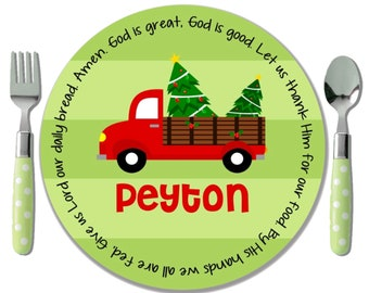 Personalized Red Truck Christmas Plate - Holiday Plate - Christmas Gift from Godparent - Godchild Christmas Gift Boy - Red Truck with Tree