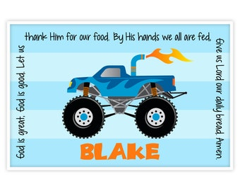 Monster Truck Personalized Kids Placemat - Boys Truck Placemat - Childs Laminated Placemat - Godchild Gift - Baptism Boy Gift - Godson Gift