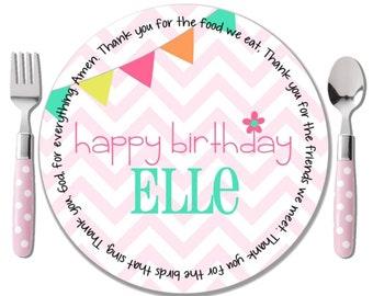 Birthday Plate Girl - Special Day Plate - Godchild Birthday Gift - First Birthday Plate - Pink Chevron Monogram Plate - Happy Birthday Plate