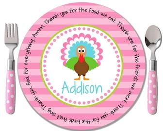 Personalized Thanksgiving Plate - Godchild Thanksgiving Gift - Personalized Children's Fall Plate - Thanksgiving Kids Plate - Turkey Girl