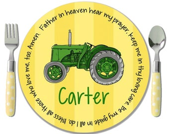 Personalized Boy Gift - Baptism Gift - Christening Gift - Godchild Gift - Personalized Melamine Plate - Green Tractor Theme - Tractor Plate