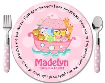 Prayer Plate - Godchild Gift - Baby Dedication Gift - Baptism Gift for Girl - Personalized Baptism Keepsake - Christening Gift - Noah's Ark