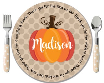 Personalized Pumpkin Plate - Polkadot Thanksgiving Plate - Kids Halloween Plate - Childs Fall Name Plate - Monogram Pumpkin Plate