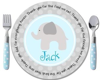 Personalized Baptism Plate - Boy Baptism Gift - Godchild Gift - Personalized Boy Gift - Elephant Theme Baby Shower - Blue Elephant Plate