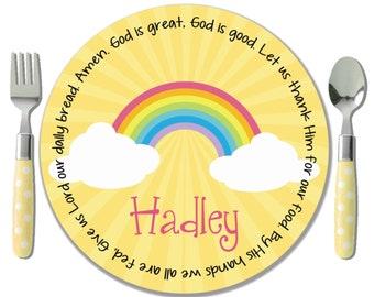 Rainbow Personalized Melamine Plate - Christening Gift - Baptism Gift Girl - Unique Dedication Gift - Godchild Gift - Personalized Kid Plate
