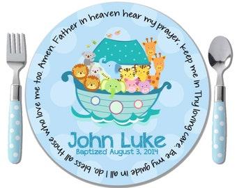 Godchild Gift - Baby Dedication Gift - Baptism Gift for Boy - Personalized Baptism Gift - Boy Christening Gift - Noah's Ark - Prayer Plate