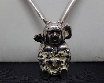 Vintage Sterling Native Long Necklace with Story Teller Pendant by Glen Sandoval