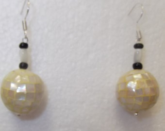 Disco Ball Mother of Pearl Earrings