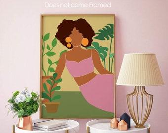 Plant Mom, Black Woman, Monstera, Abstract, UNFRAMED, Minimalist Print, Minimalist Poster Art