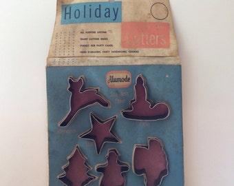Vintage Alumode Holiday Cookie Cutters in Original Box Christmas Cookie Cutters Reindeer Santa Snowman Tree Star Candle