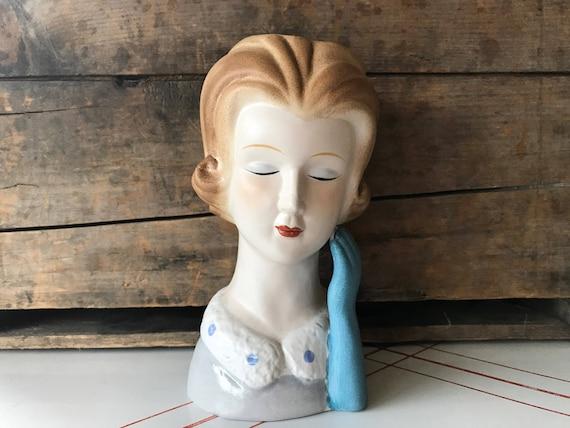 Vintage Lady Head Vase Large Head Vase Woman Head Vase Ceramic Etsy