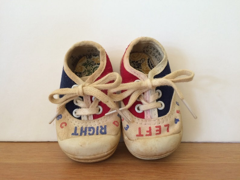 632ae8b64daa0 Vintage Right Left Toddlers Sneakers Childrens Tennis Shoes