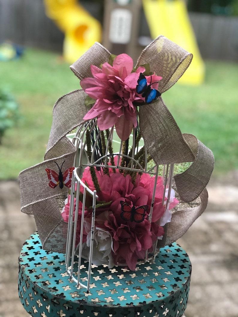 garden party centerpiece, Bird cage centerpiece flower centerpiece