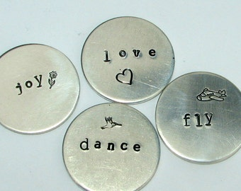 Personalized, hand-stamped aluminum disc worry coin