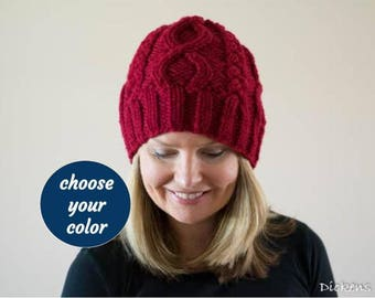PDF KNITTING PATTERN The Infinity Knit Cable Beanie Chunky