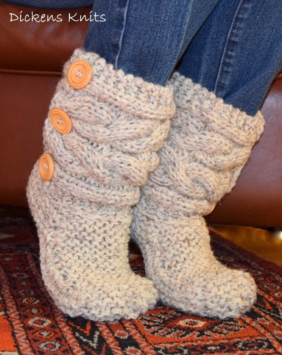 Soft Wool Cable Knit Slippers Knit Cable Slipper Boots Cable Etsy