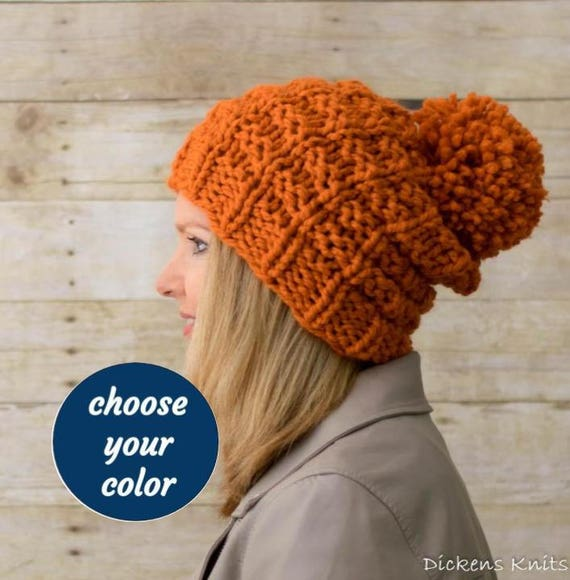 88c1886c646 Soft Wool Chunky Knit Hat Knit Slouchy Hat Knit Pom Pom Hat