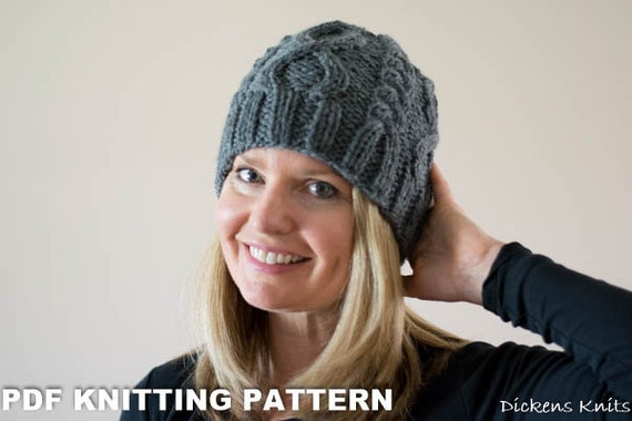 PDF KNITTING PATTERN - The Infinity Knit Cable Beanie, Chunky Knit Beanie,  Cable Knit Hat Pattern, Hat Knitting Pattern, Unisex Knit Hat