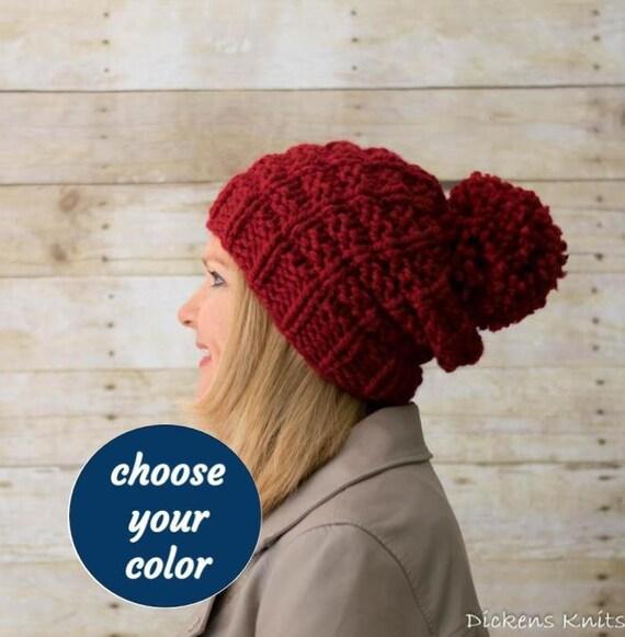 f38c0591300 Soft Wool Chunky Knit Slouchy Beanie Knit Pom Pom Hat Knit