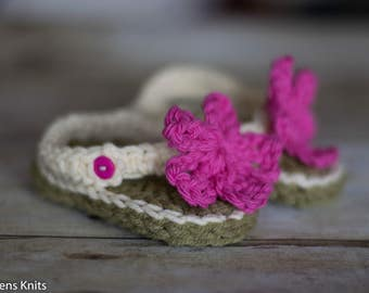 Baby Crochet Flip Flops, Baby Sandals, Baby Girl Crochet Sandals, Baby Booties