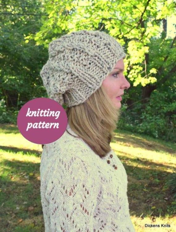 Pdf Knitting Pattern Chunky Slouchy Beanie Knitting Pattern Etsy