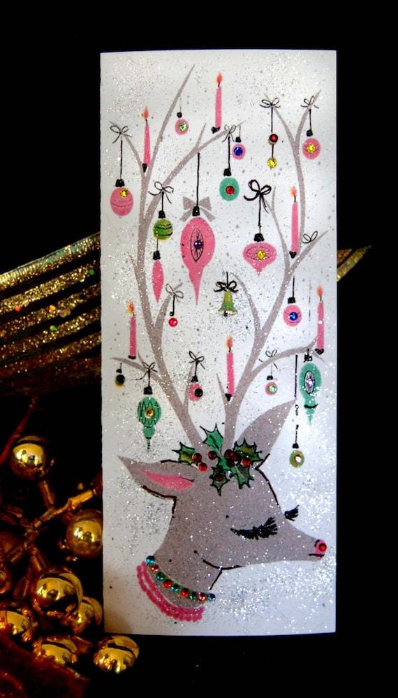 Glitter Christmas Cards.6 Christmas Cards Vintage Retro Card Glitter Christmas Card Jeweled Christmas Card Vintage Christmas Card Reindeer Christmas Card