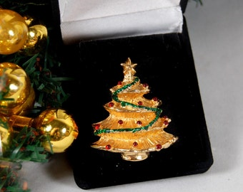 Christmas Tree Pin, Christmas Tree Brooch, Vintage Christmas Brooch, Vintage Christmas Pin
