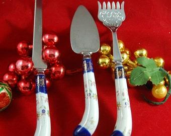 Porcelain Fork Knife Set, Porcelain Handle Serving Utensils, Serving Knife Fork Cake Utensil, Fancy Serving Utensils, Canape Fork, Cobalt