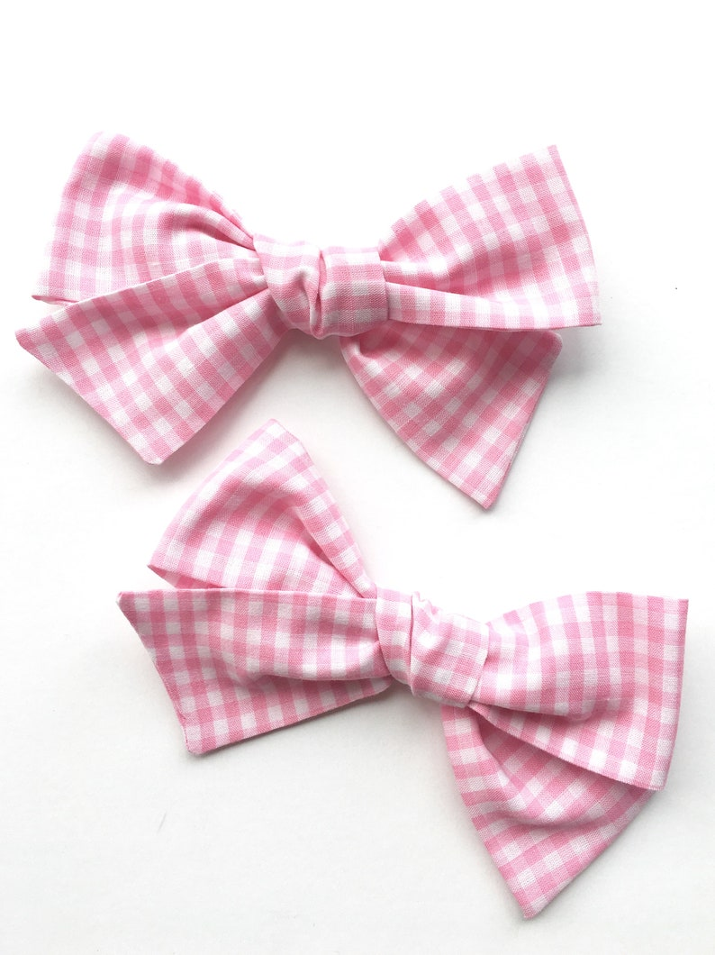 Uniform hair bow Buffalo check hair bow Hand tied hair bow Mini hair bow Pink gingham hair bow School hair bow