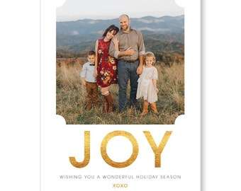Photo Holiday Card | Printable or Printed | Merry and Bright | Faux Gold | Family Photo Christmas Card | Faux Gold Foil Card | 5x7 | #112