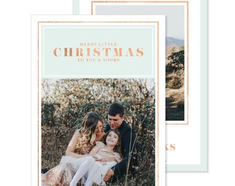 Photo Holiday Card | Printable or Printed | Merry Little Christmas | Faux Rose Gold | Family Photo Card | Faux Rose Gold Foil  | 5x7 | #716