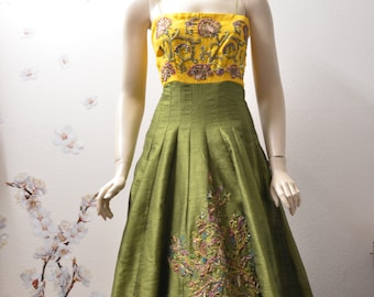 Green and yellow raw silk party dress long dress holiday dress/Gown