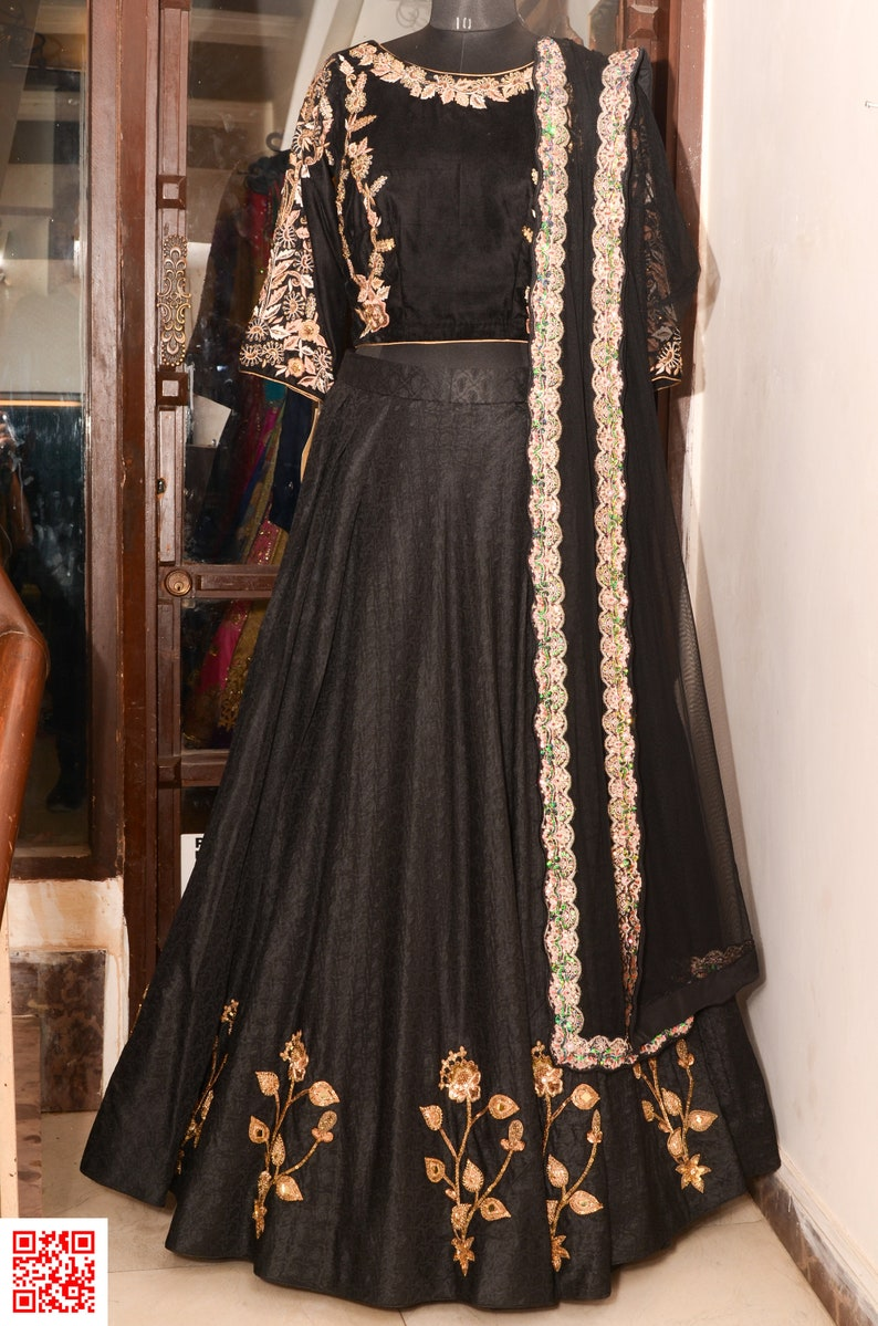 7ac9b7f70 Black and gold lehenga blouse Indian Pakistani party wear