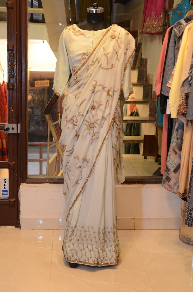 2bd5c7c16c4426 Off white pale seafoam Silk Crepe saree sari blouse choli | Etsy